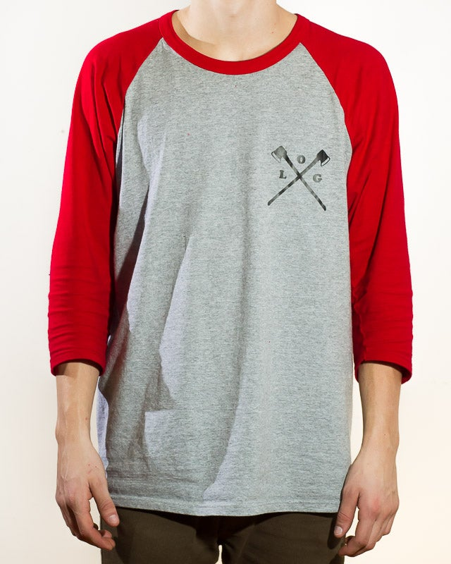 Image of axe crossed 3/4 sleeve