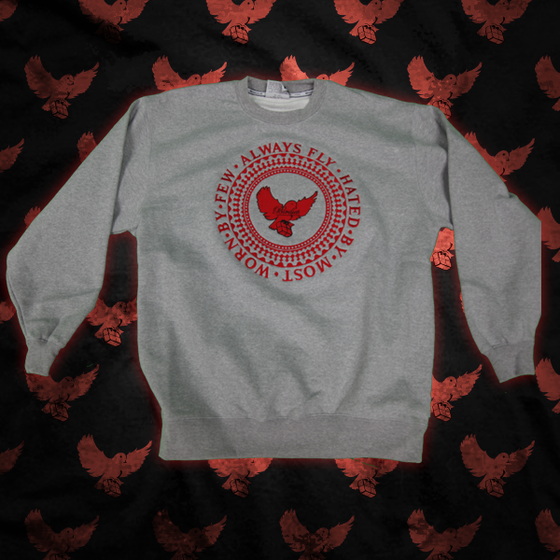 Image of Grey/Red Always Fly Crewneck Sweater