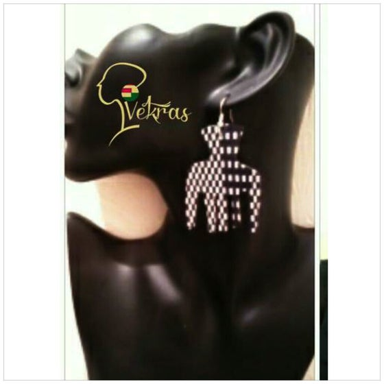 Image of Vekras Black&White Afro Comb Earrings