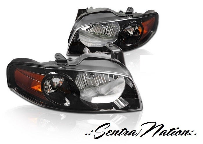 Image of (B15) 04-06 SENTRA SE-R STYLED BLACK HEADLIGHTS