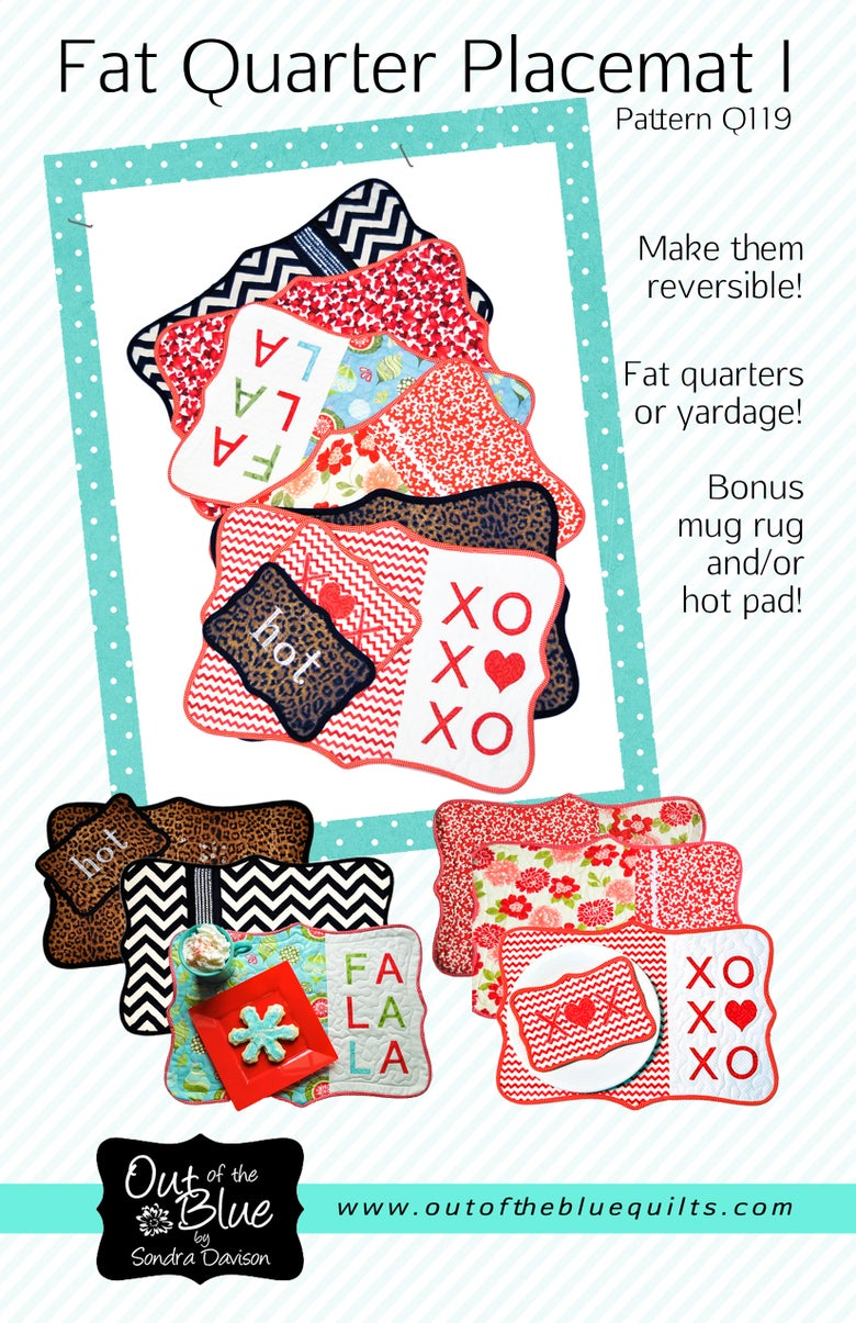 Image of Fat Quarter Placemat I - Pattern Q119 PDF pattern