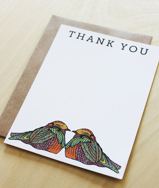 Image of Birds Thank You Flat Notes-set of 10