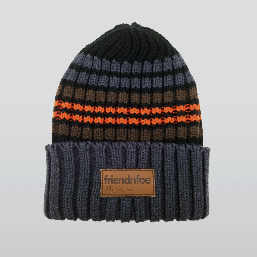 Image of The Orange Striped Knitted Beanie