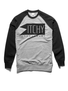 Image of ITCHY Classic Logo Sweater: Grey/Black Contrast