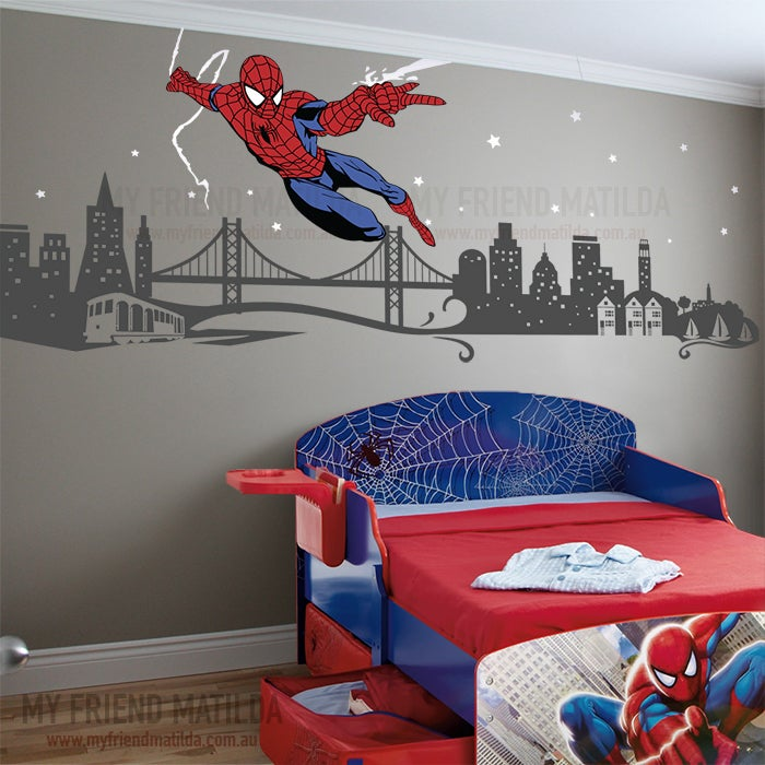 Auto Parts Store >> Spiderman Boys Wall Decal Themed Room Spider Man ...