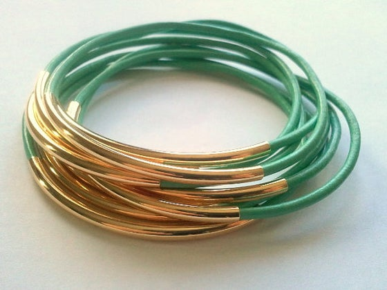 Image of Mint Leather Bangle Set