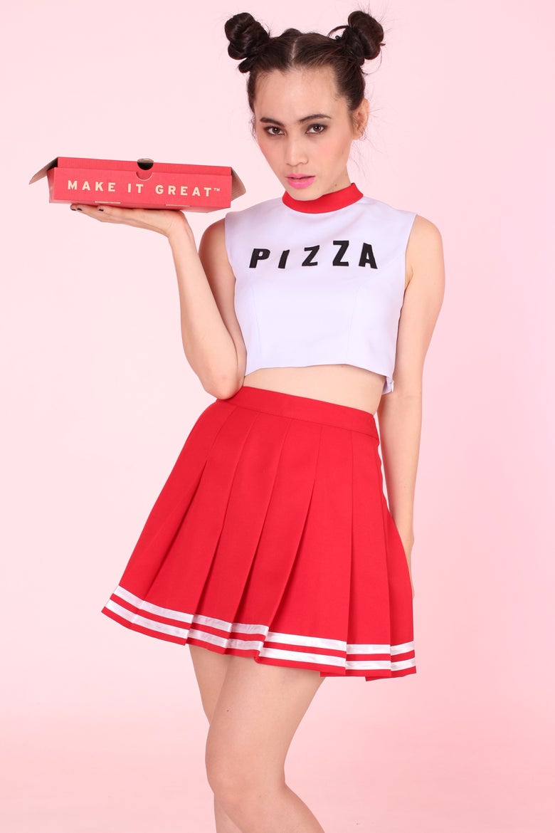 Image of MADE TO ORDER - Team Pizza Cheer Set (Top and Skirt)