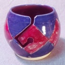 Image 2 of Argyle Yarn Bowl: Red and Blue