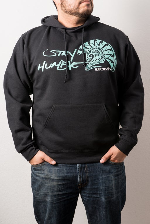 Image of Stay Humble Hoodie (Black/Tiffany Blue)