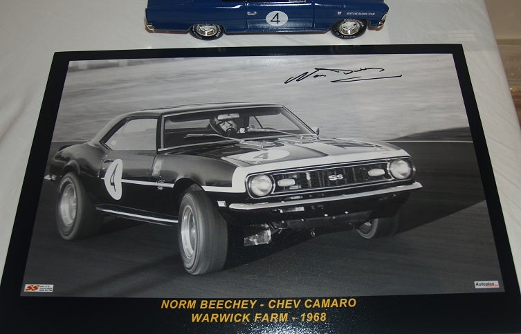 Image of Chevrolet Camaro SS. Norm Beechey. 1968 ATCC. Signed photo.