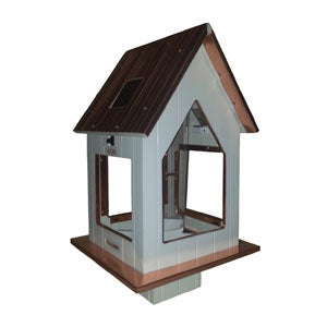 White Solar Feeder with Copper Roof
