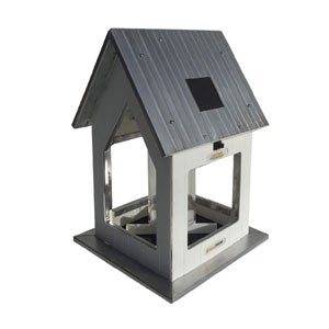 White Solar Feeder with Aluminum Roof