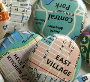 Image of nyc street map magnets or badges
