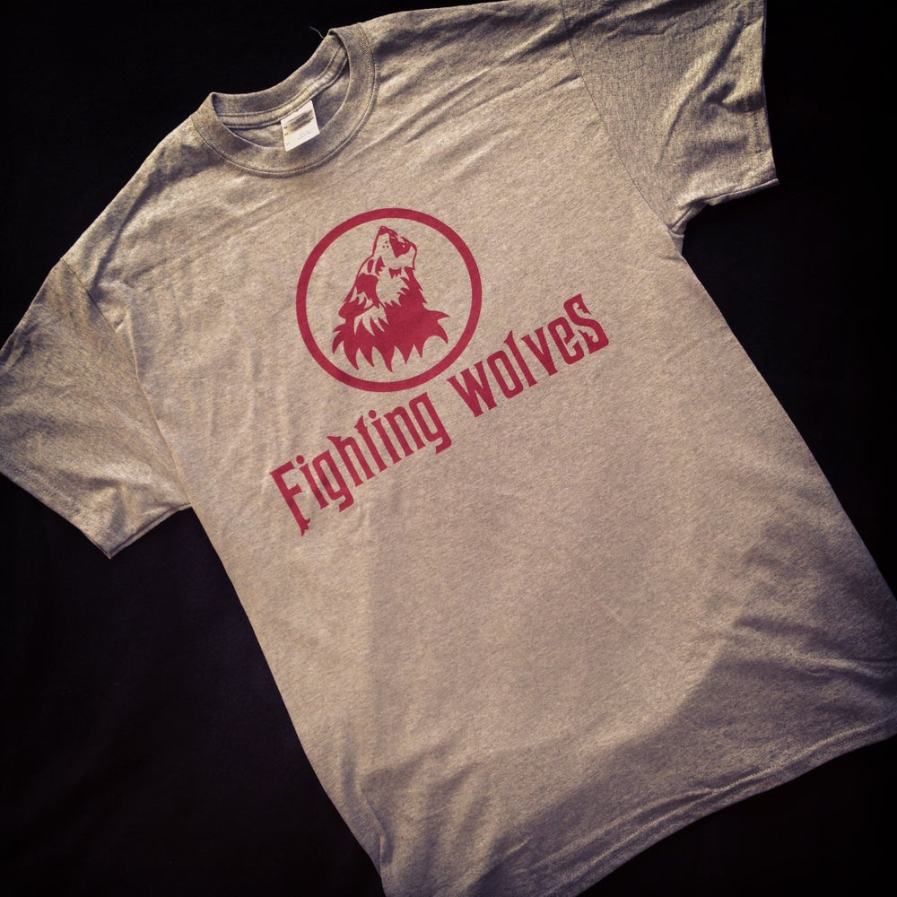 Image of Grey T Shirt - Fighting Wolves Logo