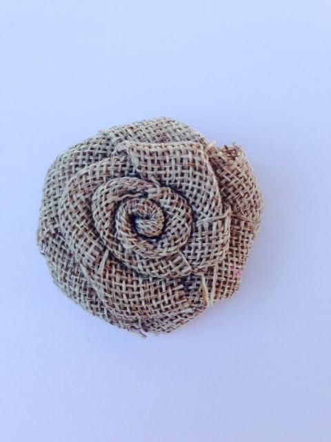 Image of Earthy Burlap Rosette Hair Clip