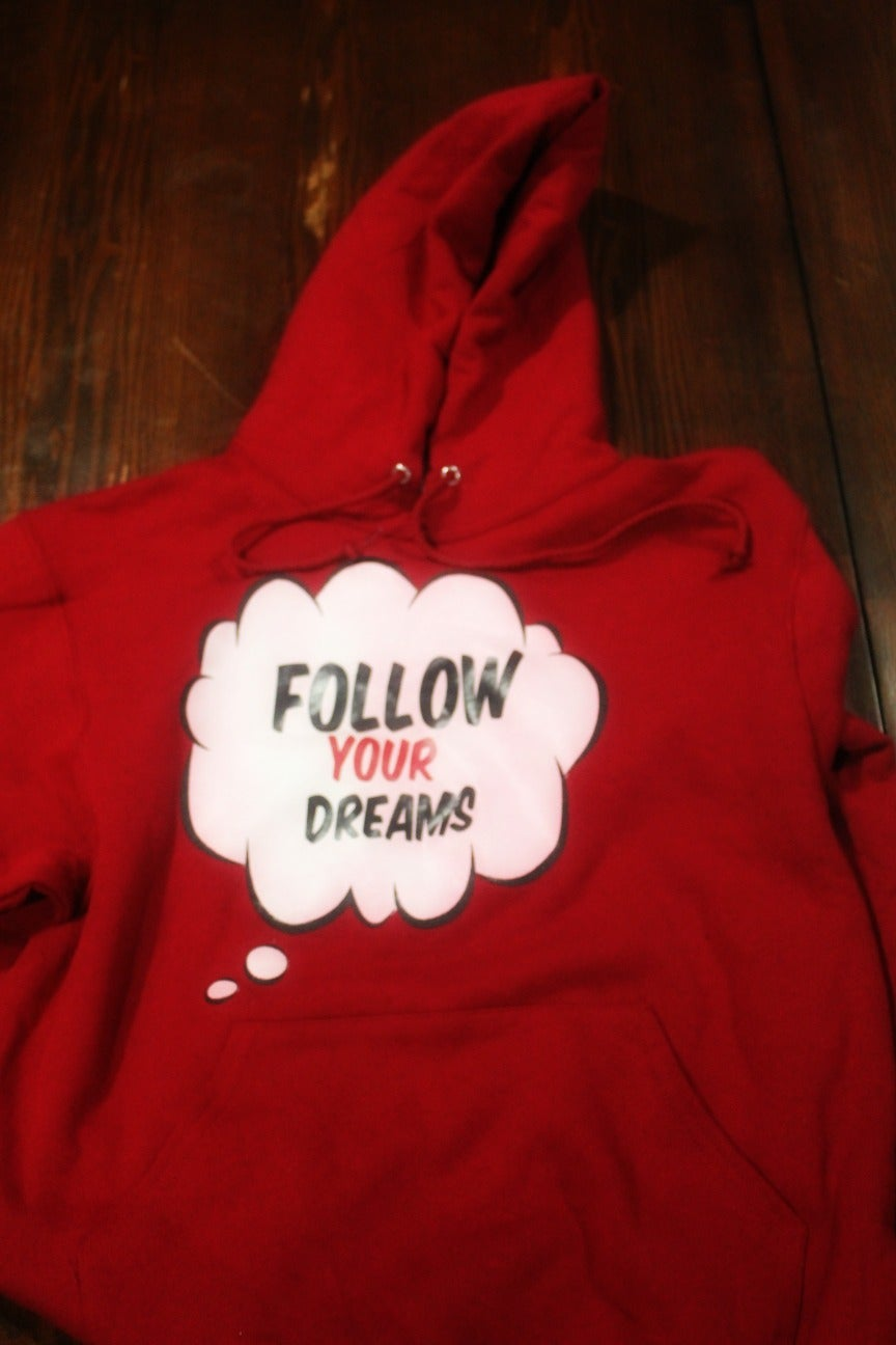 "Image of  CHERRY RED  ""FOLLOW YOUR DREAMS "" HOODIES"