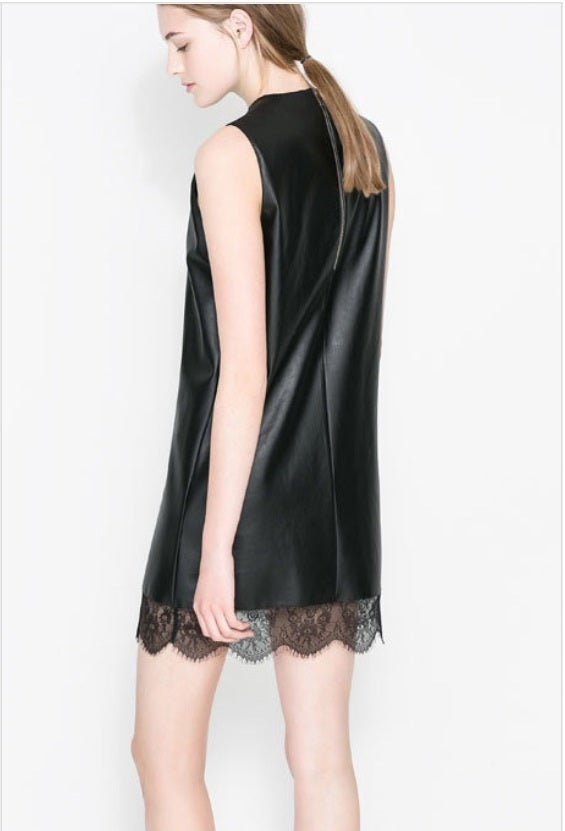 Image of Leather and Lace V-Neck Dress
