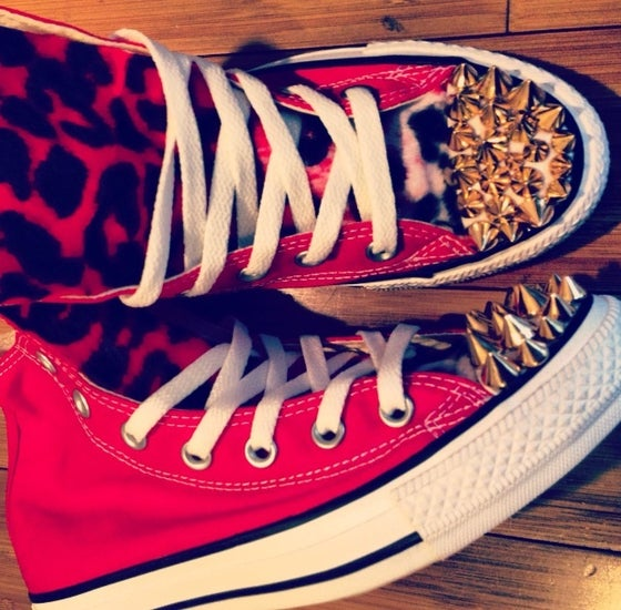 Image of Red Hightop Custom Converse w/spikes and leopard tongue