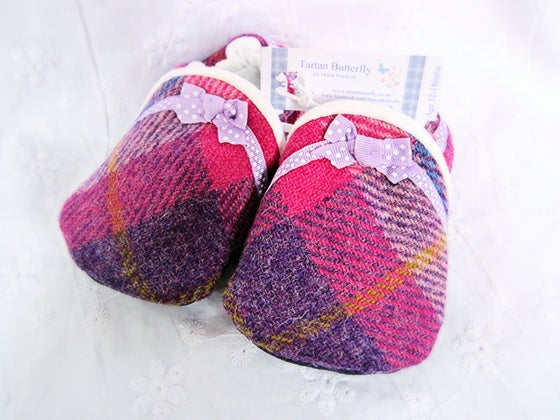 Image of Harris Tweed Baby Shoes - Bright Pink/Purple Check