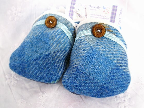 Image of Harris Tweed Baby Shoes - Light Blue Check