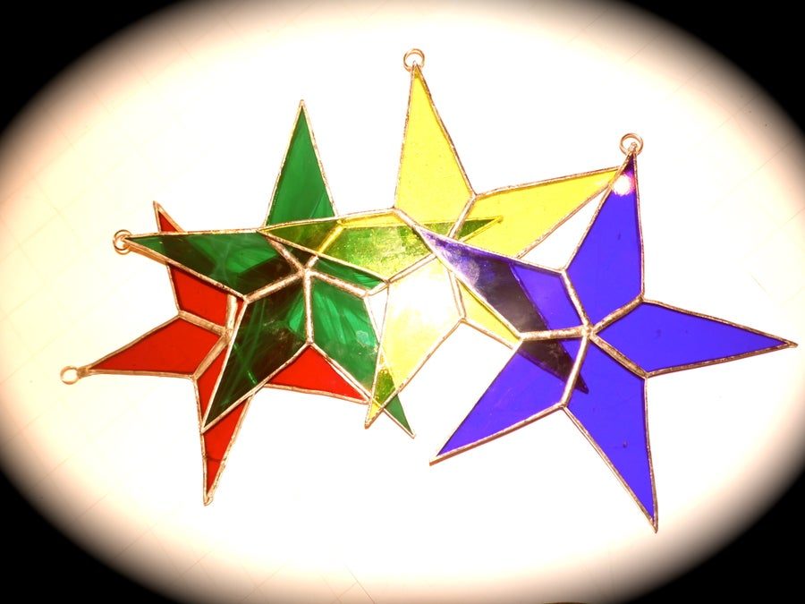 Image of Sets of 3 Stars #2-stained glass