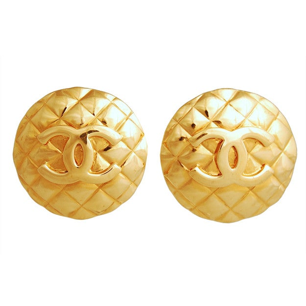 Image of SOLD OUT  CHANEL Vintage Massive CC Quilted Logo Gold Tone Clip-On Earrings