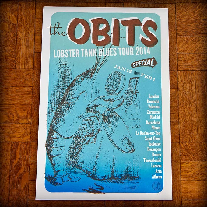 """Image of """"Lobster Tank Blues"""" January 2014 Tour Poster"""