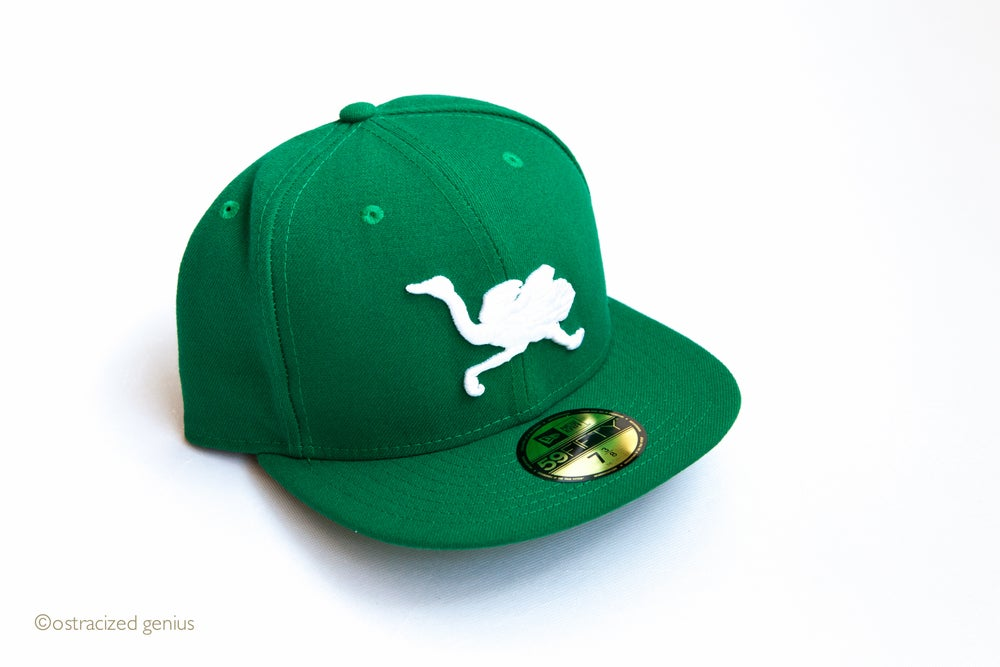 Image of OG Mascot Fitted (green w/white logos)
