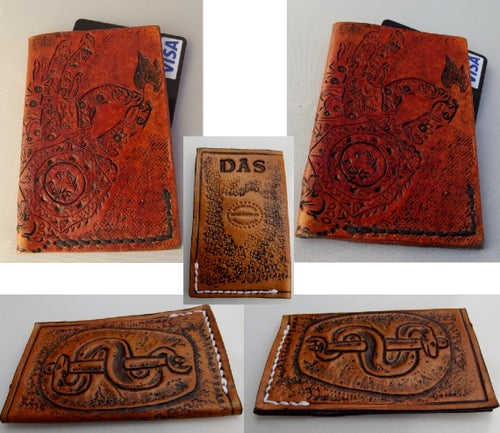 Image of Custom Hand Tooled Leather Minimalist Front Pocket Wallet, Business Card, Credit Card, ID Holder