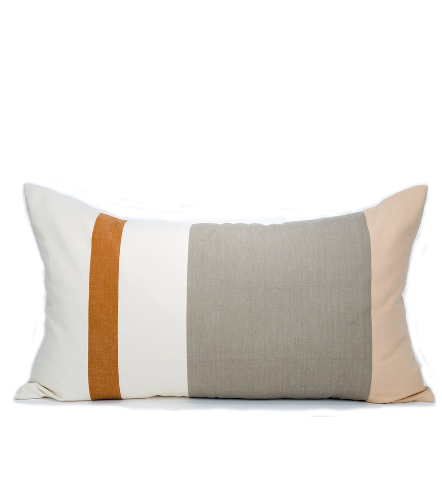 Image of IDA PILLOW white | tan | steel 14X26