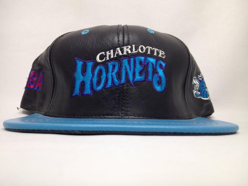 Image of Vintage Deadstock Charlotte Hornets Leather JH Snapback Cap