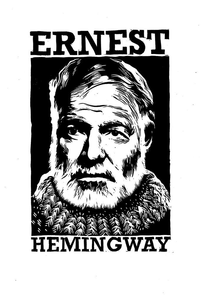 Image of Ernest Hemingway Lino Cut by Nick Hayes