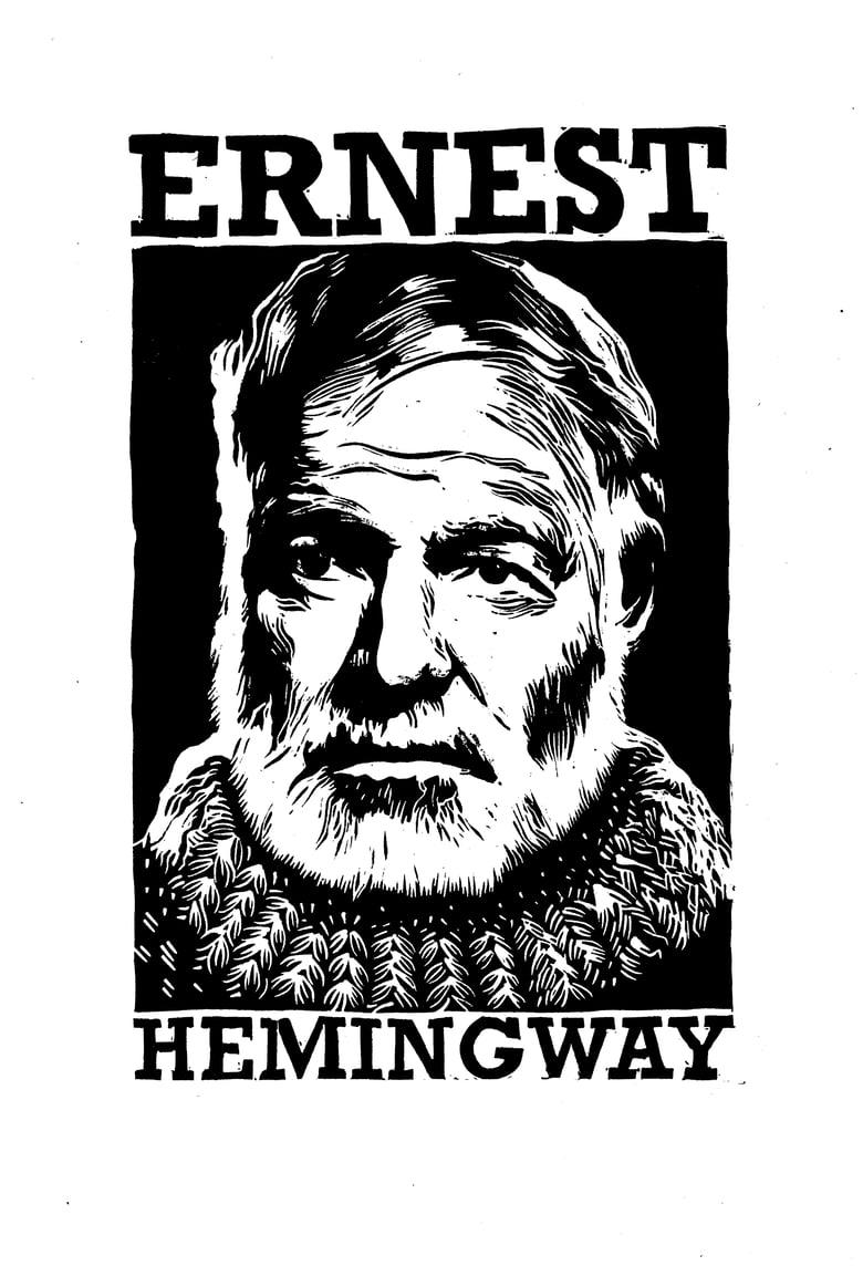 Image of Ernest Hemingway Lino Cut by Nick Hayes