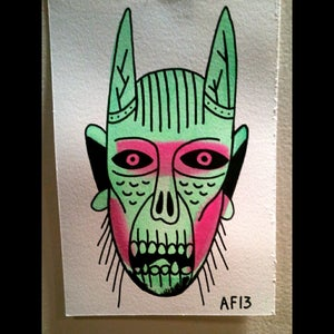 Image of Skull Devil head Original watercolor