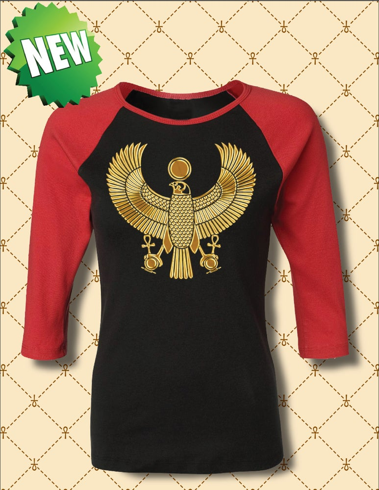 Image of WOMENS GOLD HERU 3/4 RAGLAN BASEBALL TEE