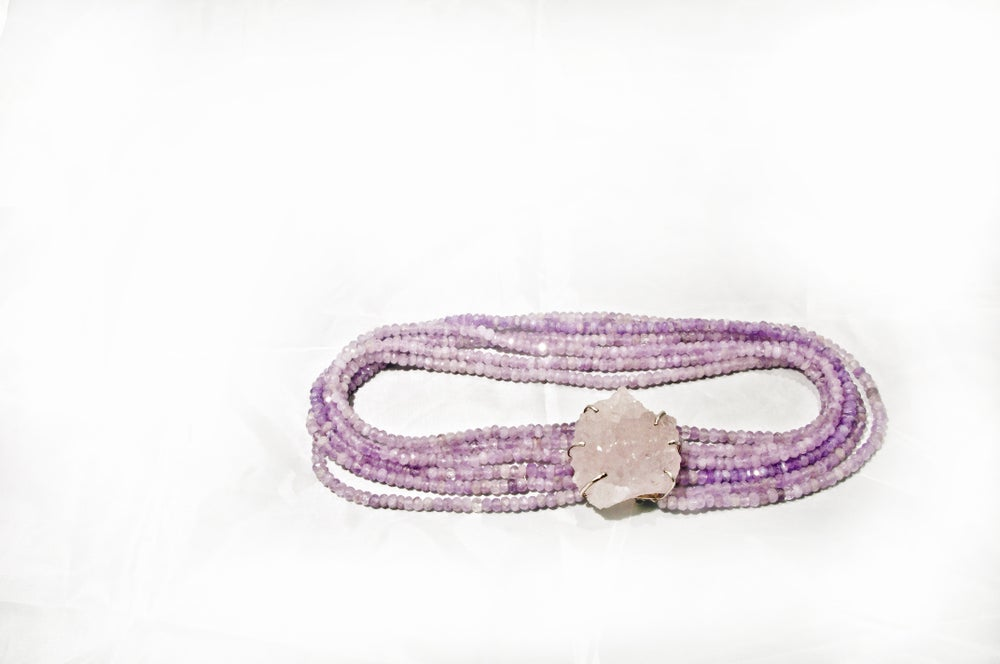 Image of Multi-Row, Graduated Amethyst Necklace with Huge Rough Amethyst and Silver Clasp.