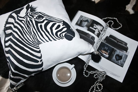 Image of Hand Painted Zebra Pillow
