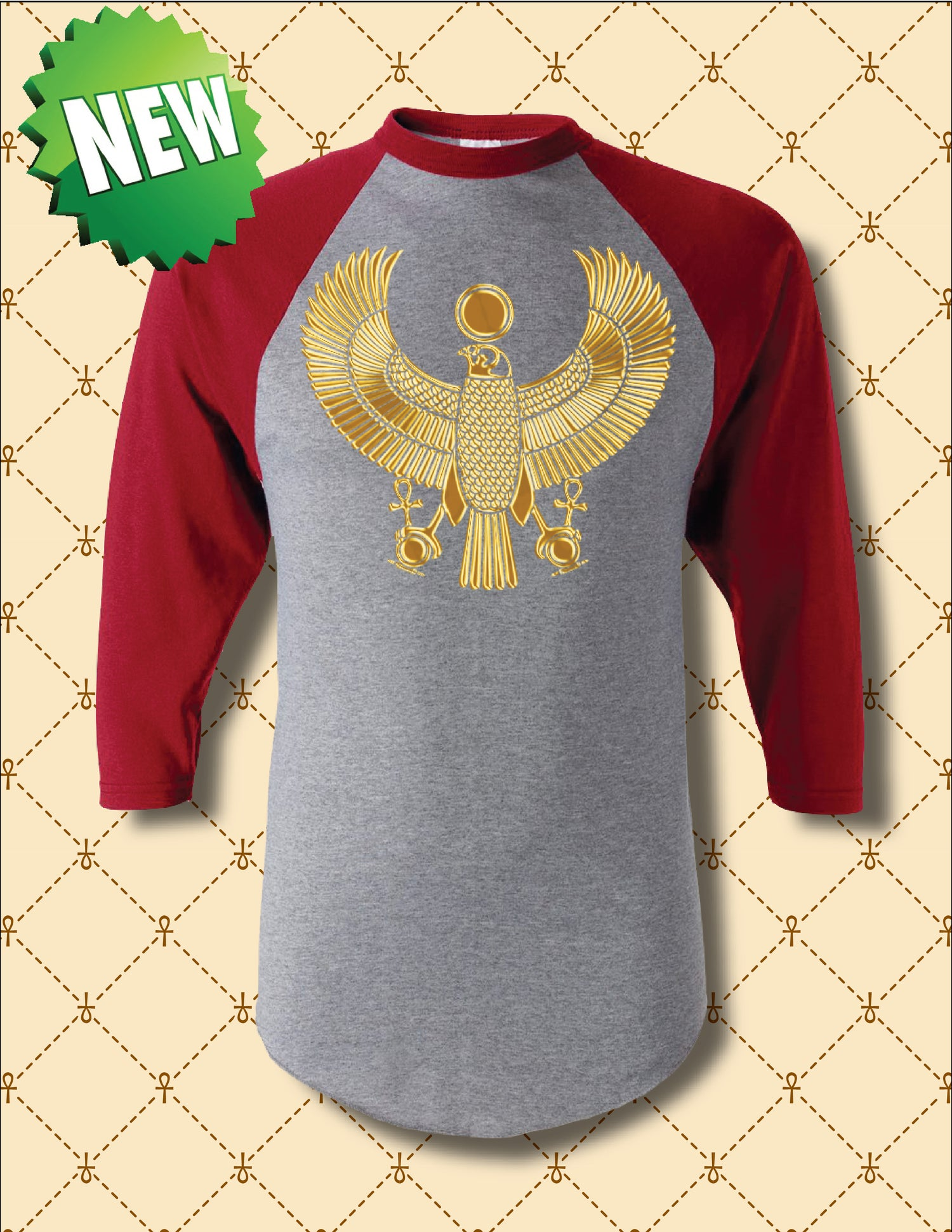 Image of MEN'S GOLD FOIL HRU BASEBALL 3/4 SLEEVE TEE