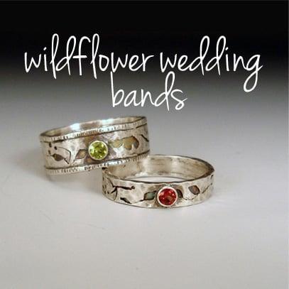 Image of Romantic Wildflower Wedding Bands