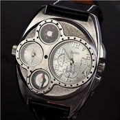 Image of Handmade Retro Leather Wrist Watch / Steampunk Mechanical Man Wrist Watch (WAT0097-Black)