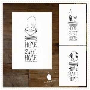 "Image of 3 Cartes Sérigraphiées "" HOME SWEET HOME"""