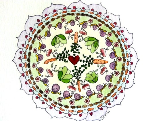 Image of Vegetable Garden Mandala watercolor and ink original painting
