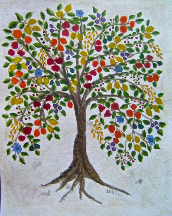 Image of Tree of Life original Watercolor Painting