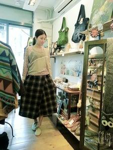 Image of Cotton linen Split Skirt / 斜襟�帶裙褲 code:147