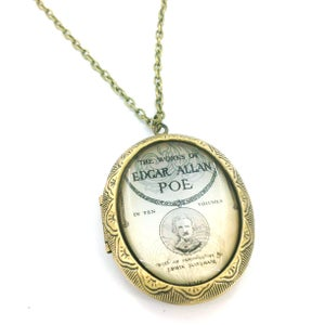 Image of The Works Of Edgar Allan Poe Cameo Locket Necklace