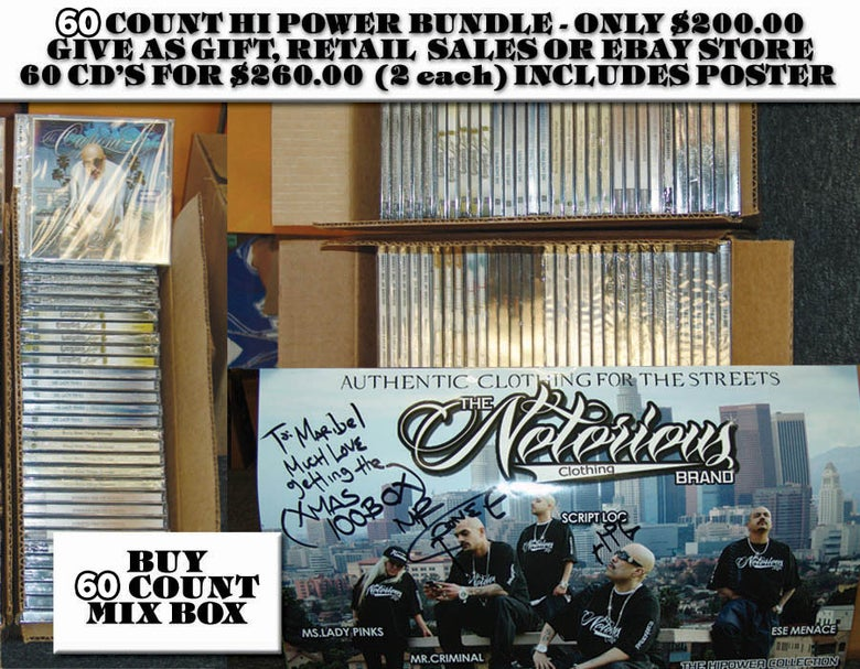 Image of 60 COUNT BOX OF ASSORTED HI POWER CD'S