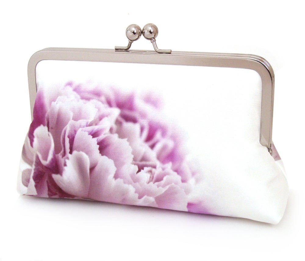 Image of Pink carnation clutch bag, silk purse, pink petals, wedding purse