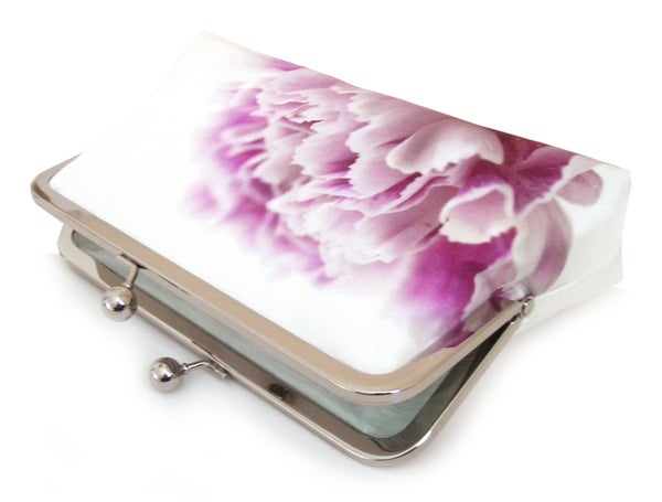 Pink carnation clutch bag, silk purse, pink petals, wedding purse  - Red Ruby Rose