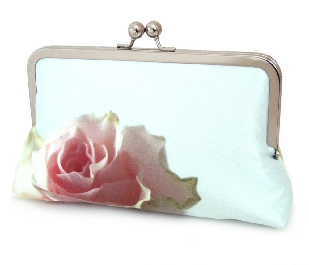Image of Mint rose clutch bag, silk purse, pink rose petals, wedding purse