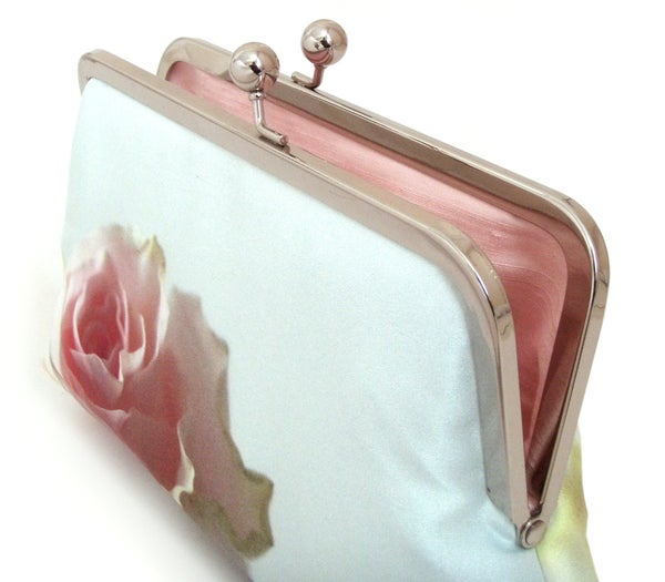 Mint rose clutch bag, silk purse, pink rose petals, wedding purse - Red Ruby Rose